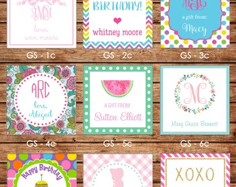 24 Printed Girl Square Gift Tags Enclosure Cards Stickers - Can personalize - Choose ONE design