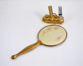 Vintage Oval Brushed Gold Hand Held Mirror, 4 Pink Flowers Design, Vanity, Dressing Room