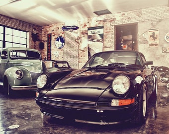 Classic Car Showroom, Automotive Art, Automotive Decor, Classic Car Decor, Man Cave, Garage Decor, Large Wall Art Print, Porsche