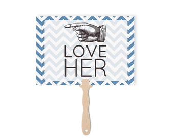 Wedding Paddles Love Him love Her   Wedding Photo Booth Props   Love Him Love Her Sign