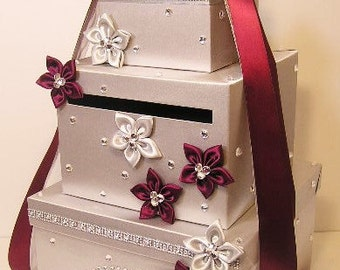 Wedding Card Box Silver and Burgundy/Wine  Gift Card Box Money Box Holder-Customize your color