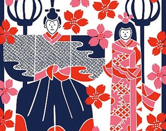 Small Size Cotton 'Hina Dolls and Cherry Blossoms' Furoshiki Japanese Fabric w/Free Insured Shipping