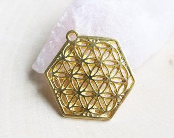 20 Sacred Geometry, Gold Flower of life, Yoga Charm, Symbol Charm, Nature Charm,