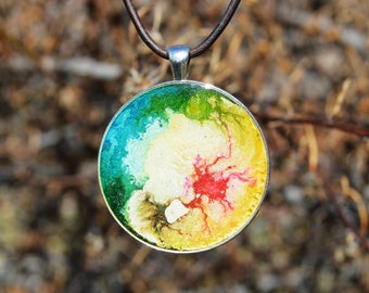 """1.5"""" Round Antique-Silver Necklace, Pendant, Epoxy Resin, Alcohol Ink - Leather Cord"""