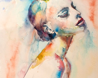 Original Watercolor Painting. Portrait of young lady. The women. Woman In Love. Suite. Full color.