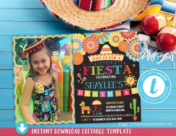 Fiesta Photo Birthday Invitation • Mexican Party Invite • Cinco de Mayo Printable Invitations with Picture