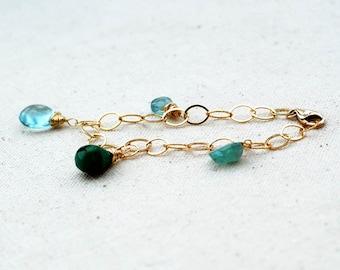 lucky charm... gold charm bracelet / turquoise, apatite, fluorite, labradorite & 14k gold filled bracelet / for her