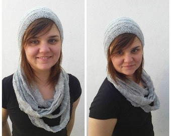 Heather grey hat and cowl set, knit grey cowl, knit summer cowl, knit spring scarf, knit grey hat, knit summer hat, knit spring hat, OOAK