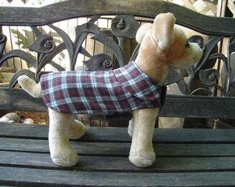 Upcycled Plaid Dog Coat- Size XX Small 8 -10 Inch Back Length