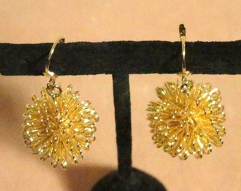 Gold Plated Sunburst Pierced hanging earrings