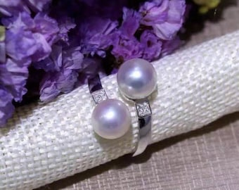 Double pearl ring- Sterling silver and double pearl open ring- white freshwater pearl ring- white pearl open ring- Mothers day gift idea