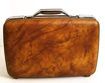 Vintage American Tourister  Brown Marbled Suitcase