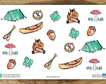 Camping Planner Stickers | Watercolor Tent Canoe Mushroom Camp Acorn Campfire Compass Watercolour Planner Stickers