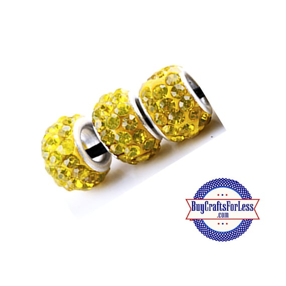 Glittery Glass Beads, Sunshine YELLOW, 6, 12 24 pcs +FREE Shipping & Discounts*