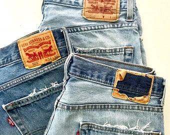 Levi Shorts Vintage Levis   Distressed  Denim Cut Off Shorts 1990s Levi Shorts