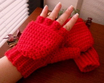 Red Wool Convertible Mittens - Red Wool Blend Convertible Mittens - Red Wool Fingerless Mittens - Red Wool Mittens - Red Wool Mitts