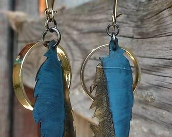 Recycled Bike Tube Feather Earrings