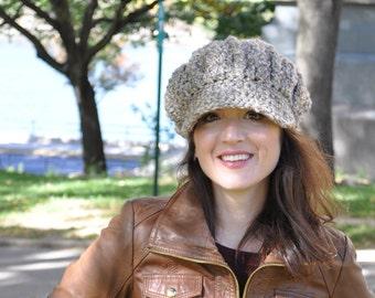 Crocheted Newsboy Hat with Brim - Crochet Hat in Neutral Color - Women's Accessories - Soft Winter Hat - Women's Hat