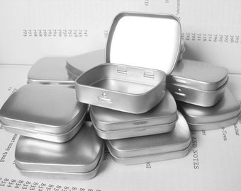 Mini Metal Hinged Tin, Blank (Set Of 12) In Silver Color