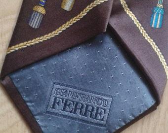 """Rare FERRE' Necktie, Gianfranco FERRE', 1980s Dandy RETRO' design pattern, """"trompe l'oeil"""" design, Made in Italy"""