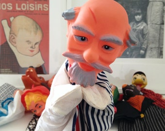 """Grandpa to the scar"" hand puppet, made in Hong Kong. Vintage 1960's"