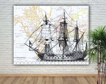 Sailboat Print, Nautical Art decor, Sailing Art, War ship, Sailing decor, Gift for Sailors, Sailing School decor, old Vessel Art