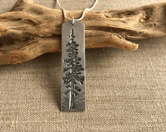 Redwood Tree Fine Silver Pendant
