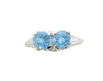 Platinum Aquamarine and Diamond Edwardian Ring, Antique Aqua Ring, Platinum Ring, Aquamarine and Diamond Ring, March Birthstone