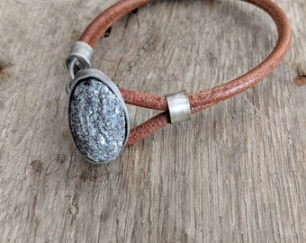 Ocean Stone Cremation Ash Memorial Bracelet- Tiny Schist or Umpire stone from the Hudson River