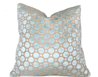 "Robert Allen Cut Velvet Geo Light Aqua Mineral Blue Pillow Cover, Fits 12x18 12x24 14x20 16x26 18"" 20"" 22"" 24"" Inserts"