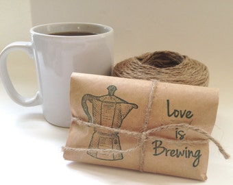 Coffee Wedding favors. Set of 10. Rustic Wedding Favors. Percolator and Love is Brewing. RTS