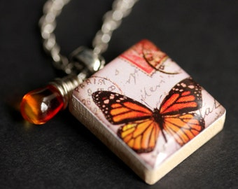 Orange Butterfly Necklace. Monarch Butterfly Charm Necklace. Scrabble Tile Necklace with Fire Orange Teardrop. Handmade Jewelry.