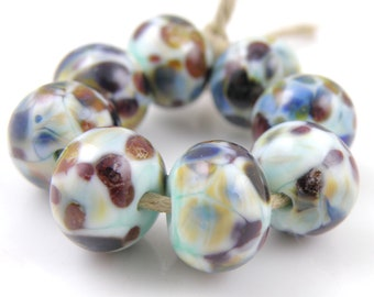 Surf's Up SRA Lampwork Handmade Artisan Glass Donut/Round Beads Made to Order Set of 8 8x12mm
