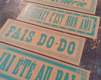 4 CAJUN SIGNS in FRENCH Letterpress prints Whiskey print Dance party Cajun kitchen Louisiana art New Orleans signs Hand printed Cajun decor