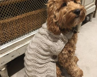 Handmade lace knit dogs coat
