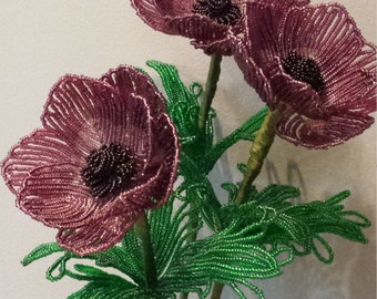 FREE SHIPPING, French Beaded Anemone Flower