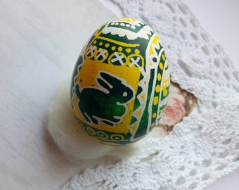 Pysanky eggs. duck egg Real Ukrainian Pysanka Easter Egg Hand made, Pysanka Ornament,  unique rabbit, bunny