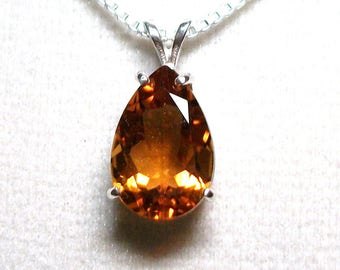 "Madeira citrine, citrine pendant, pear pendant, citrine necklace,  orange pendant, sterling silver,   ""Rock n roll"""