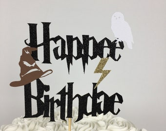 Harry Potter Happee Birthdae Cake Topper ~  lightning bolt ~ party ~ birthday ~ Hedwig ~ Sorting hat ~ Harry Potter Birthday ~ glitter