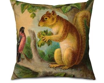 Squirrel Pillow For Cabin, Vintage Squirrel Print, Cabin Decor, Throw Pillow Rustic Decor, Vacation Home Decor, Mountain Home