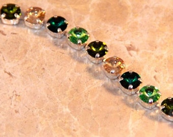 Swarovski Crystal Irish Green 8.5mm Tennis Bracelet