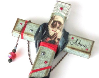 Decoupaged Wall Cross Decorated Crucifix Virgin Mary Madonna Catholic Art Christian Art Religious Easter Mothers Day Gift for Mom