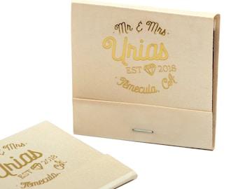 MR & MRS w/ Diamond Matchbooks - Wedding Favors, Wedding Matches, Wedding Decor, Anniversary Favors, Custom Matchbook, Last Name Established