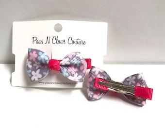 Light Purple & Fuscia floral hair clip