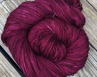Hand Dyed Sock Yarn Song of the Sirens Hand Painted cranberry magenta 463 yards superwash merino nylon fingering weight Treasured Toes swm