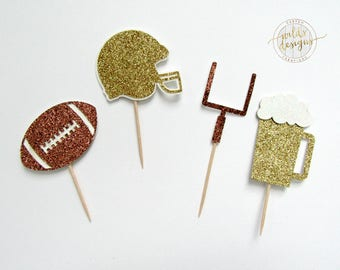 Football party cupcake toppers helmet, goal, beer glitter cupcake toppers sets of 12