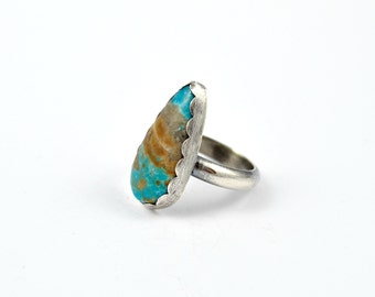 Natural Turquoise and Sterling Silver Ring, Size 8.5