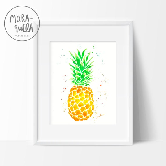 Original Yellow and Green Pineapple Watercolor hand-made.