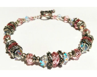 Silvertone Crystal Toggle Bracelet