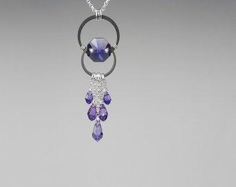 Tanzanite Swarovski Crystal Pendant, Tanzanite Swarovski, Industrial Necklace, Purple Crystal, Statement Necklace, Oort Cloud v14